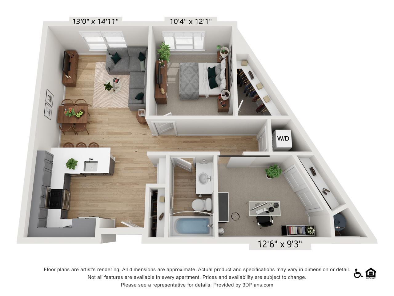 One Bedroom F | 1 Bedroom | 1 Bathroom | 897-899 sq ft