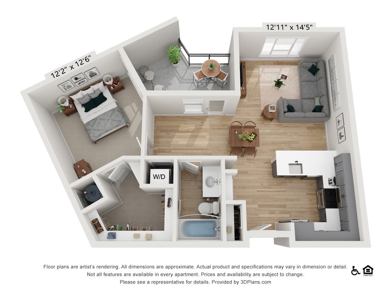 One Bedroom G | 1 Bedroom | 1 Bathroom | 866 sq ft