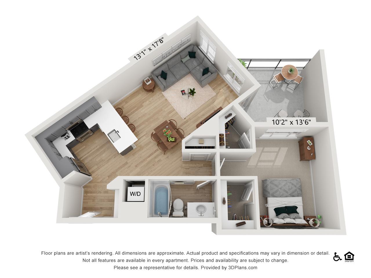 One Bedroom H | 1 Bedroom | 1 Bathroom | 833-847 sq ft