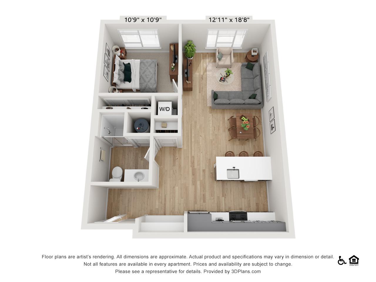 One Bedroom J | 1 Bedroom | 1 Bathroom | 734 sq ft