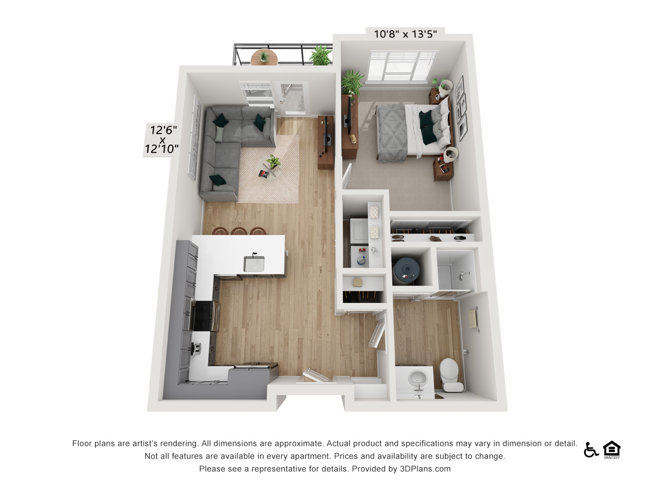 One Bedroom K | 1 Bedroom | 1 Bathroom | 668-674 sq ft