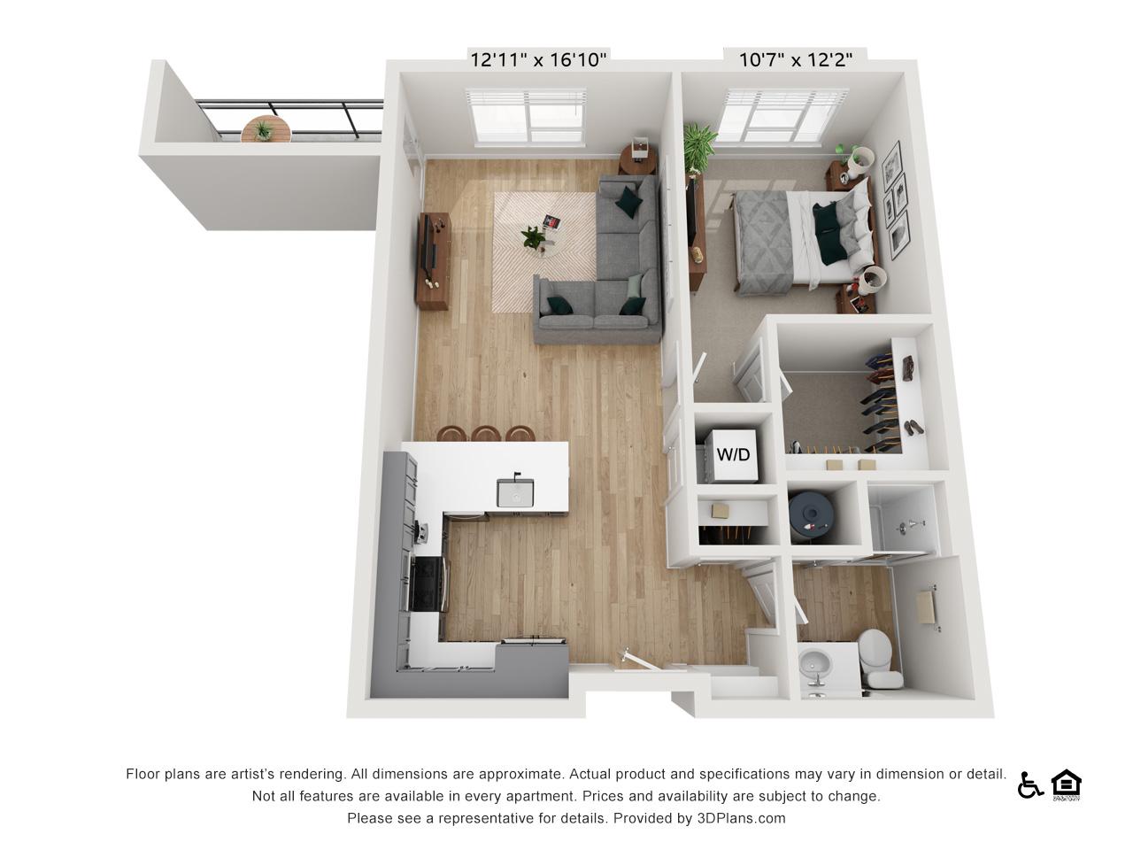 One Bedroom M | 1 Bedroom | 1 Bathroom | 732 sq ft