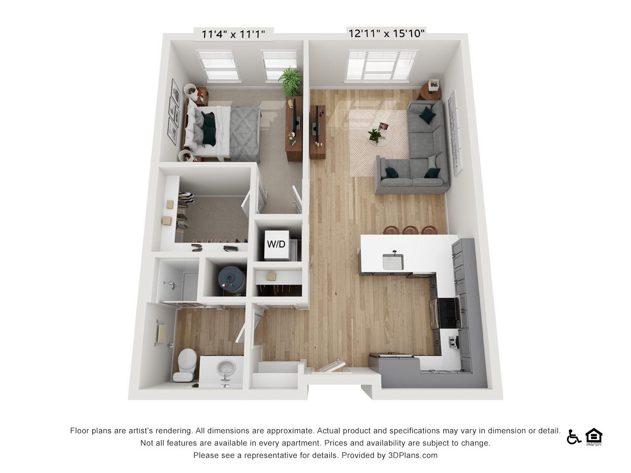 One Bedroom N | 1 Bedroom | 1 Bathroom | 665-677 sq ft