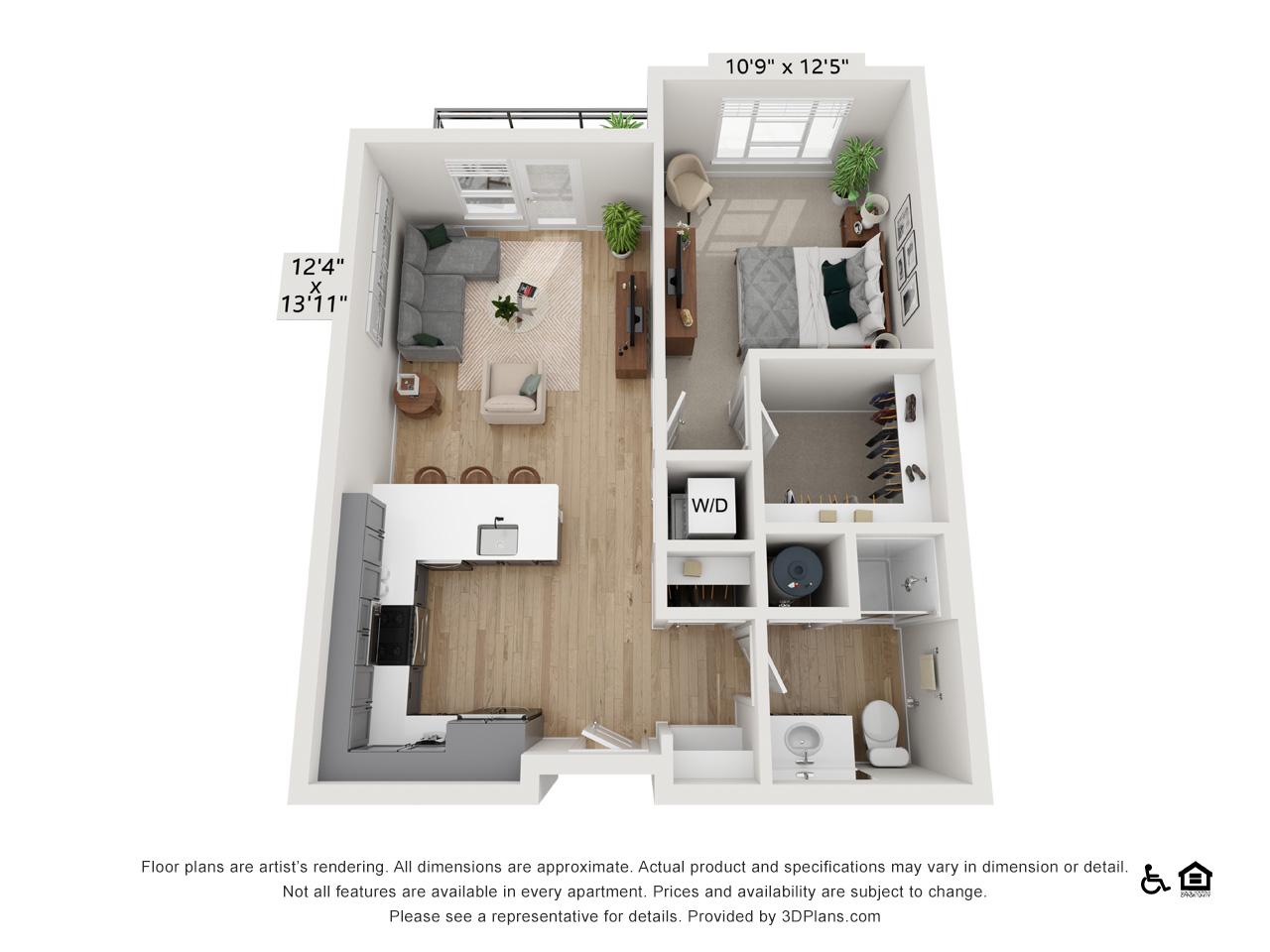 One Bedroom C | 1 Bedroom | 1 Bathroom | 670-680 sq ft