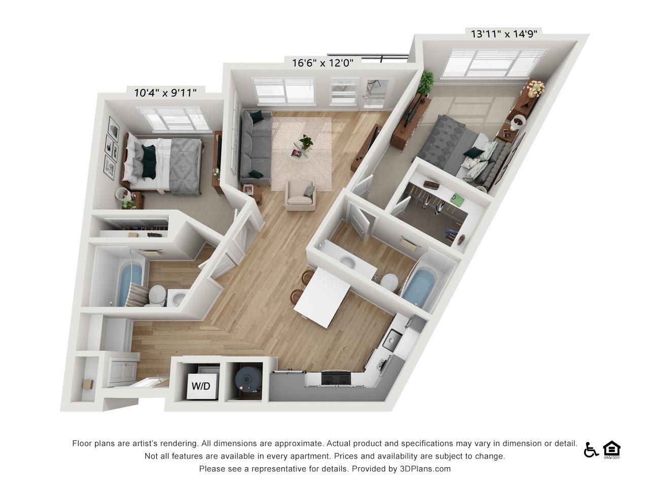 Two Bedroom A | 2 Bedrooms | 2 Bathrooms | 996-1,001 sq ft