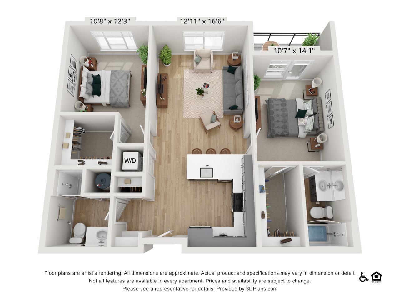 Two Bedroom B | 2 Bedrooms | 2 Bathrooms | 1,009-1,025 sq ft