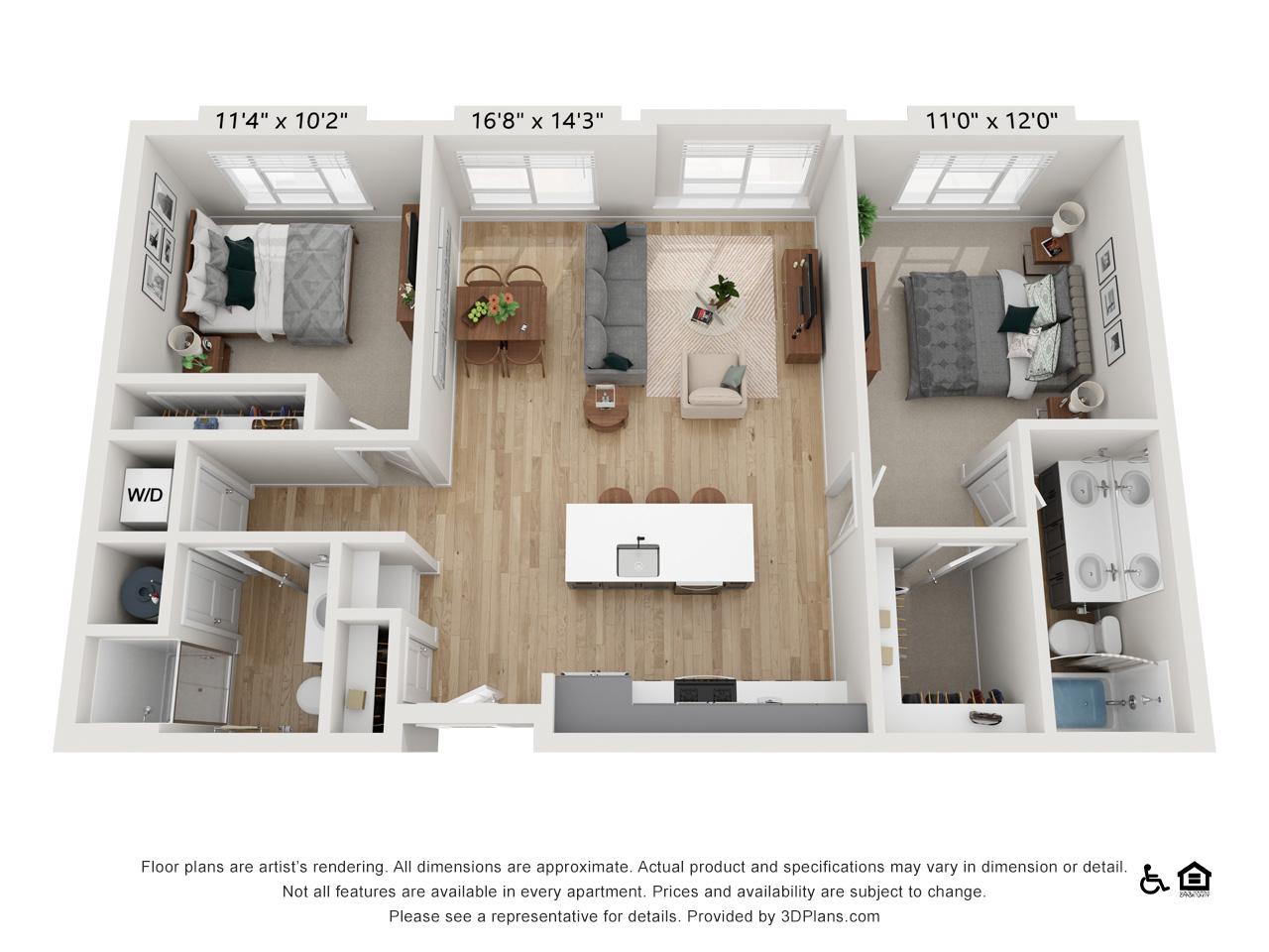 Two Bedroom E | 2 Bedrooms | 2 Bathrooms | 1,057-1,065 sq ft