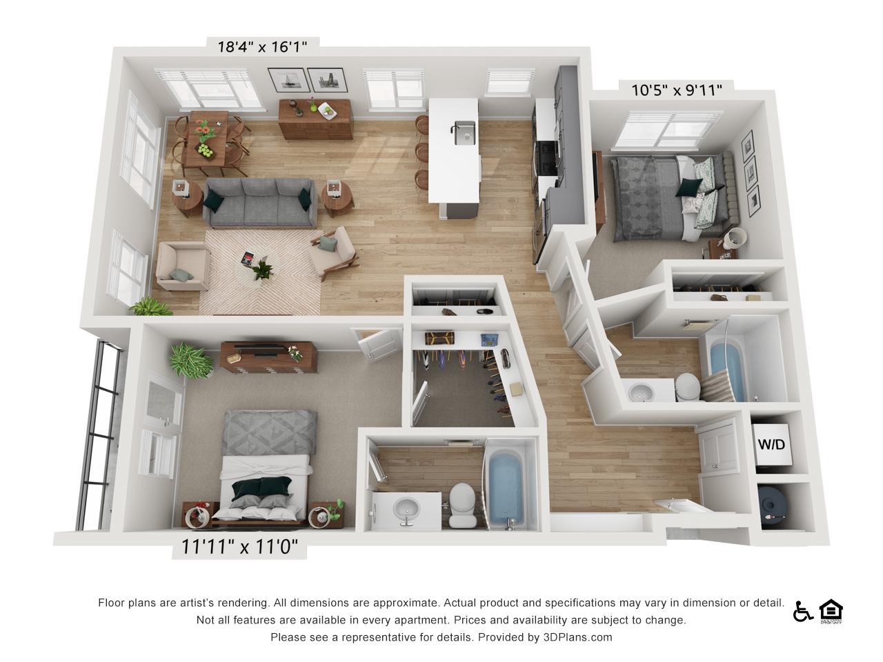 Two Bedroom F | 2 Bedrooms | 2 Bathrooms | 1,129 sq ft