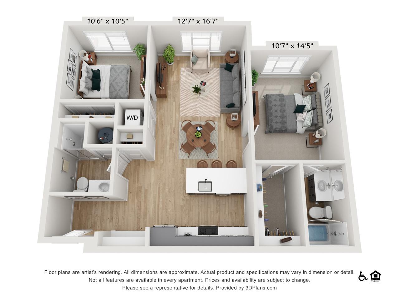 Two Bedroom J | 2 Bedrooms | 2 Bathrooms | 1,024-1,027 sq ft