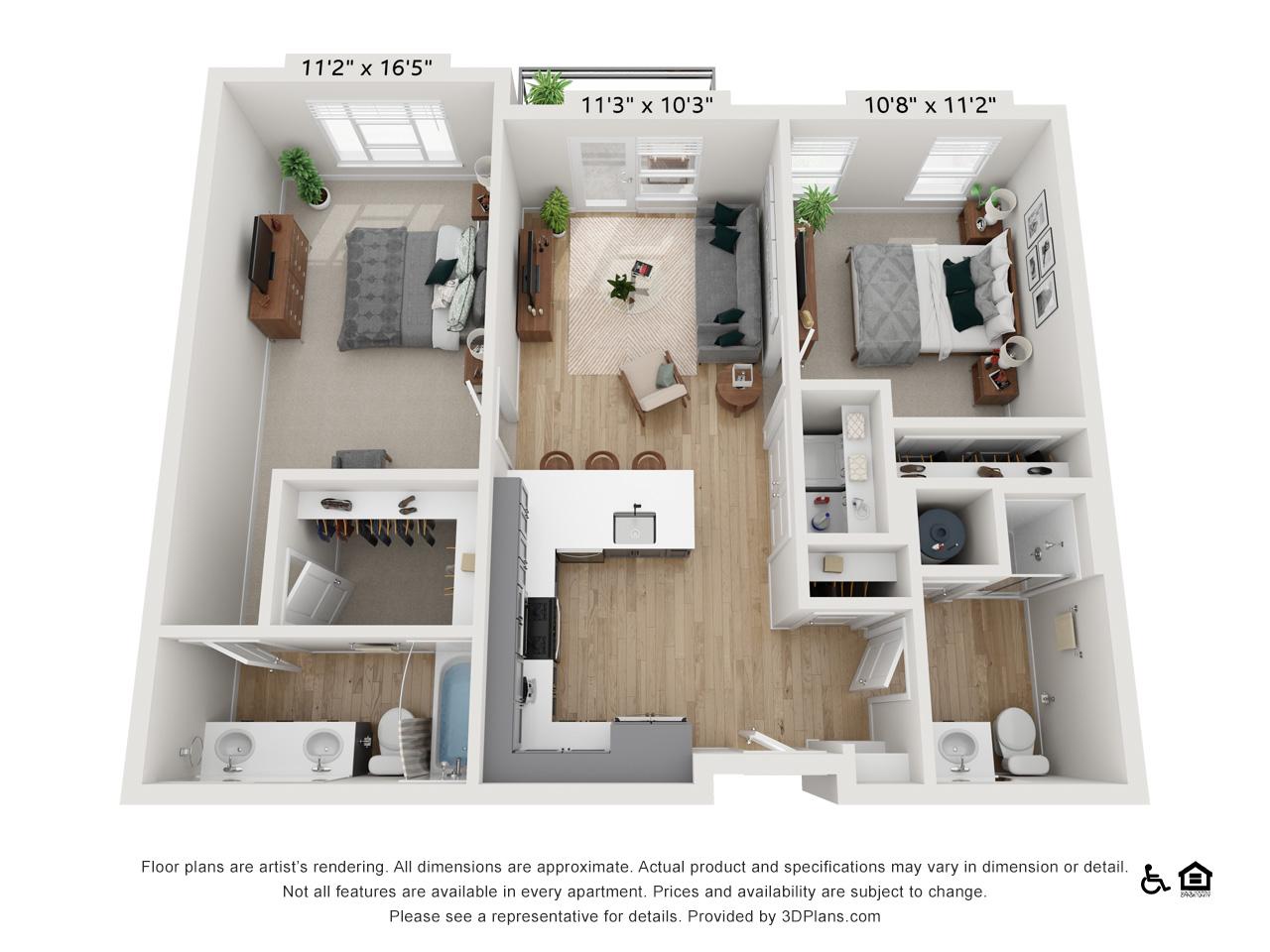 Two Bedroom K | 2 Bedrooms | 2 Bathrooms | 1,017-1,022 sq ft