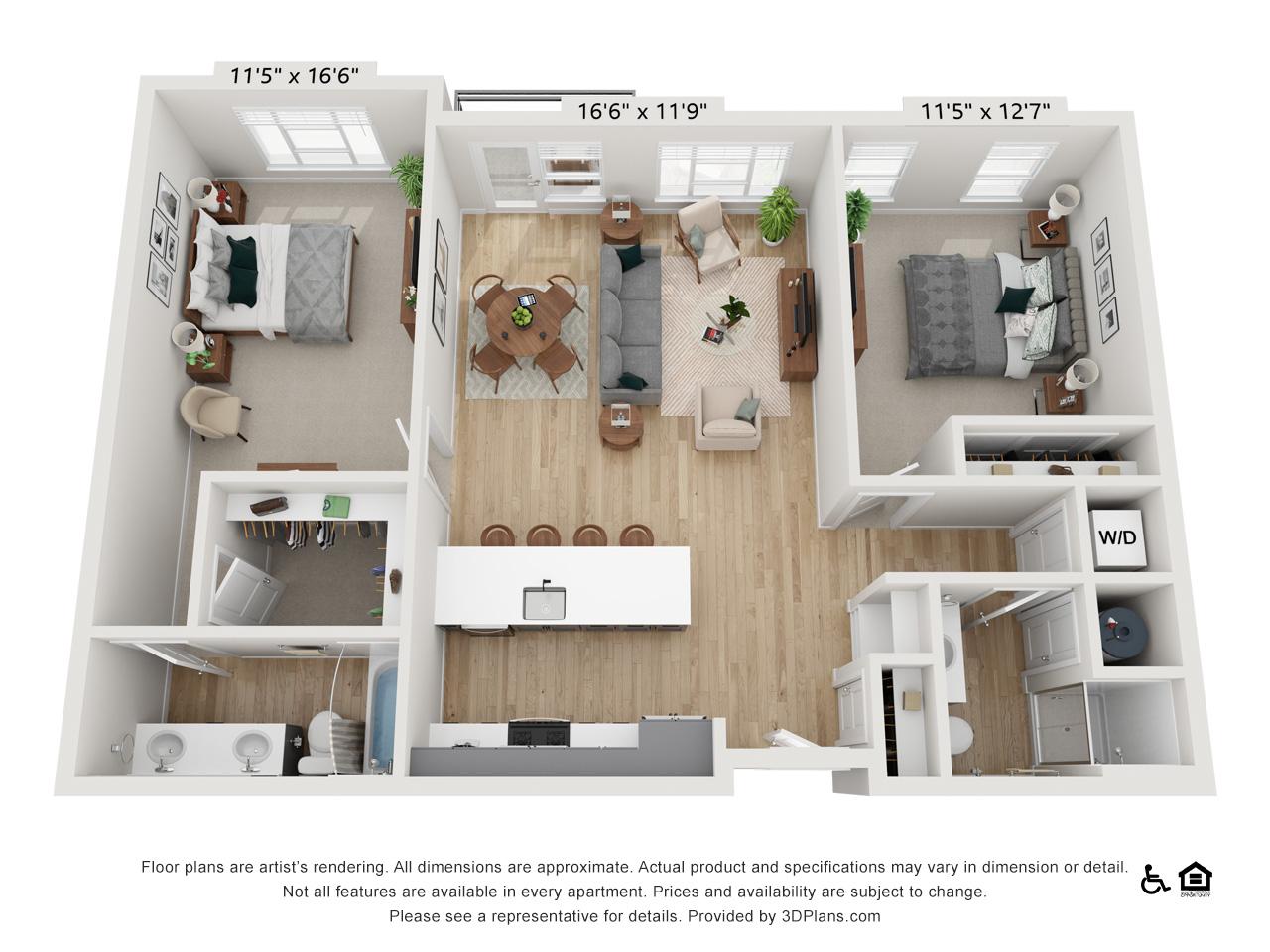 Two Bedroom G | 2 Bedrooms | 2 Bathrooms | 1,185-1,206 sq ft