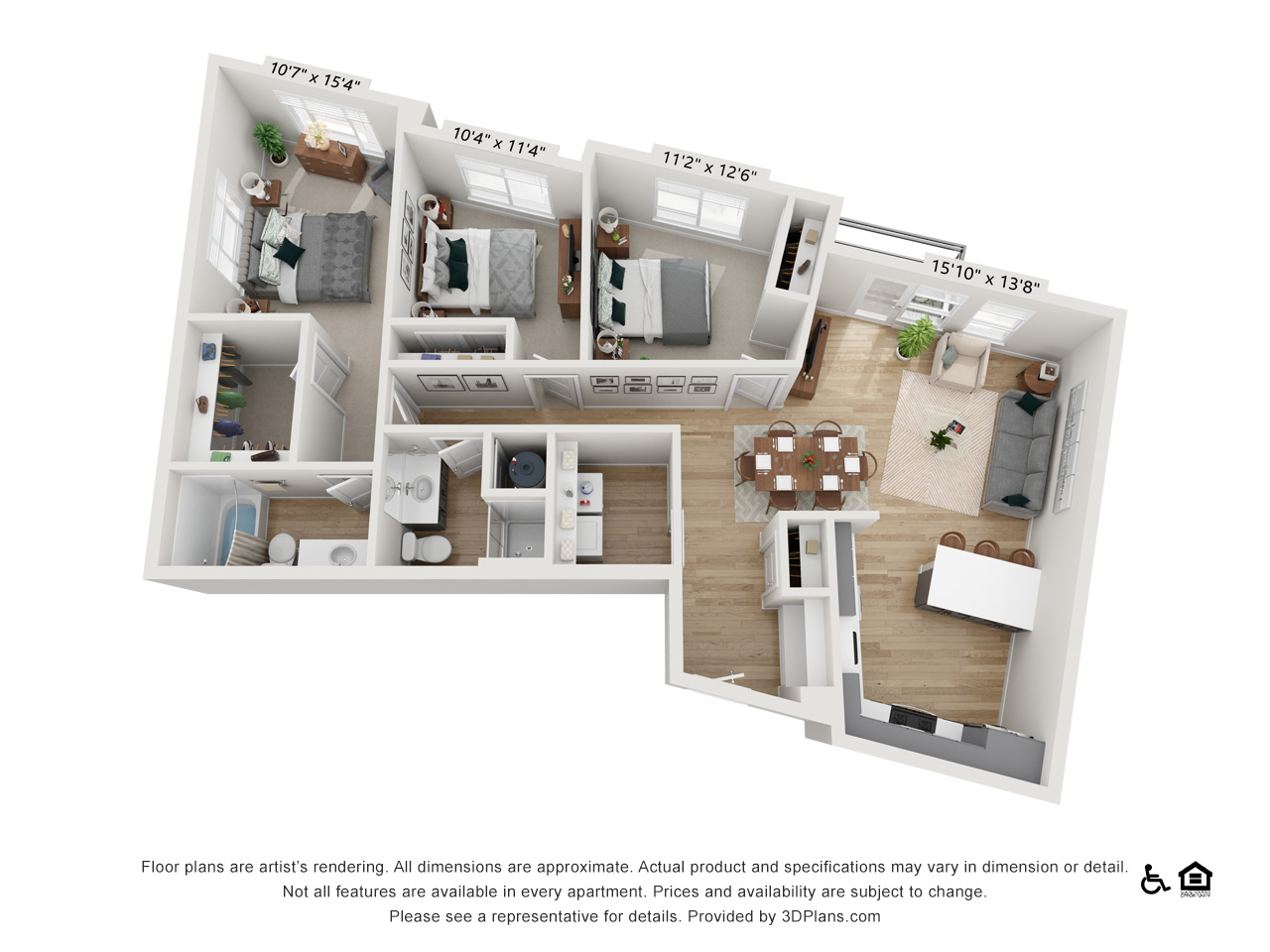 Three Bedroom B | 3 Bedrooms | 2 Bathrooms | 1,356-1,367 sq ft