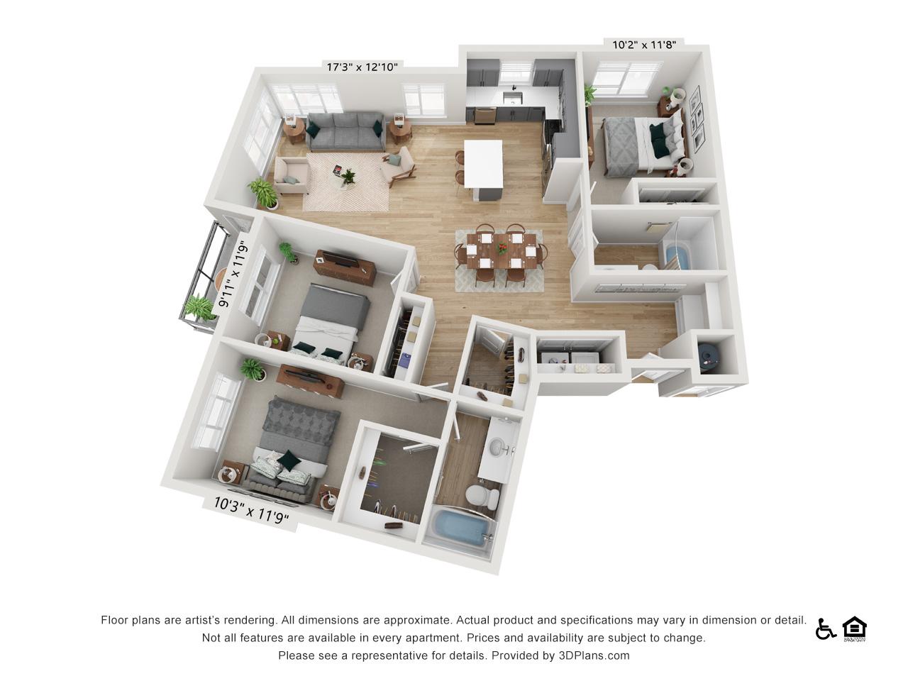 Three Bedroom C | 3 Bedrooms | 2 Bathrooms | 1,420 sq ft