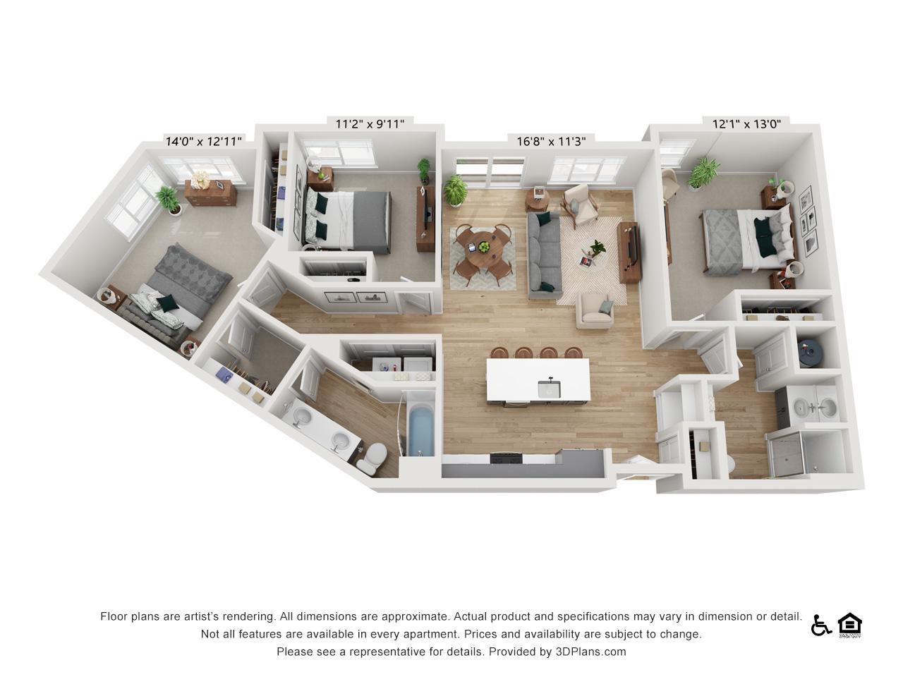 Three Bedroom D | 3 Bedrooms | 2 Bathrooms | 1,378 sq ft