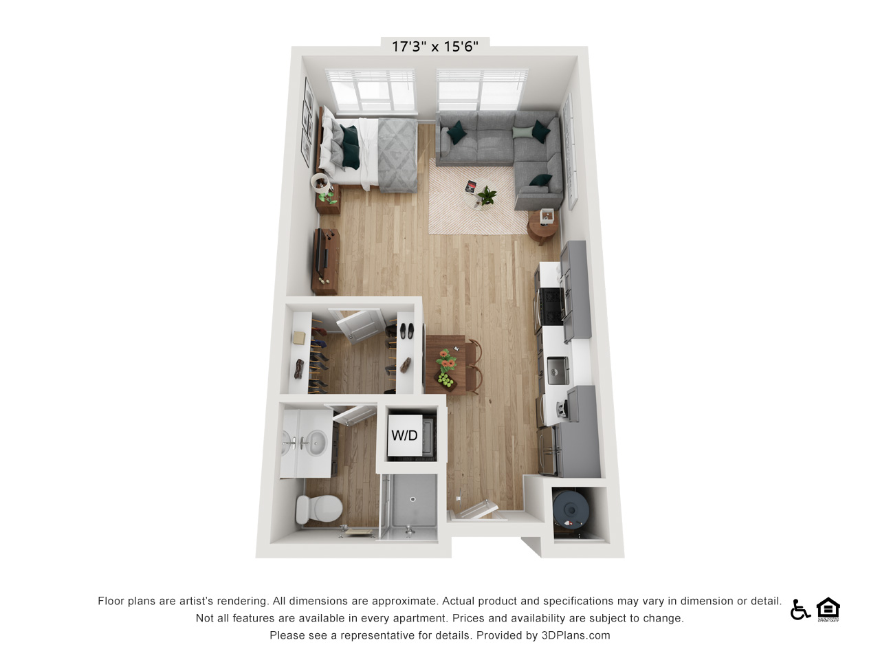 Studio A | 0 Bedrooms | 1 Bathroom | 498-505 sq ft