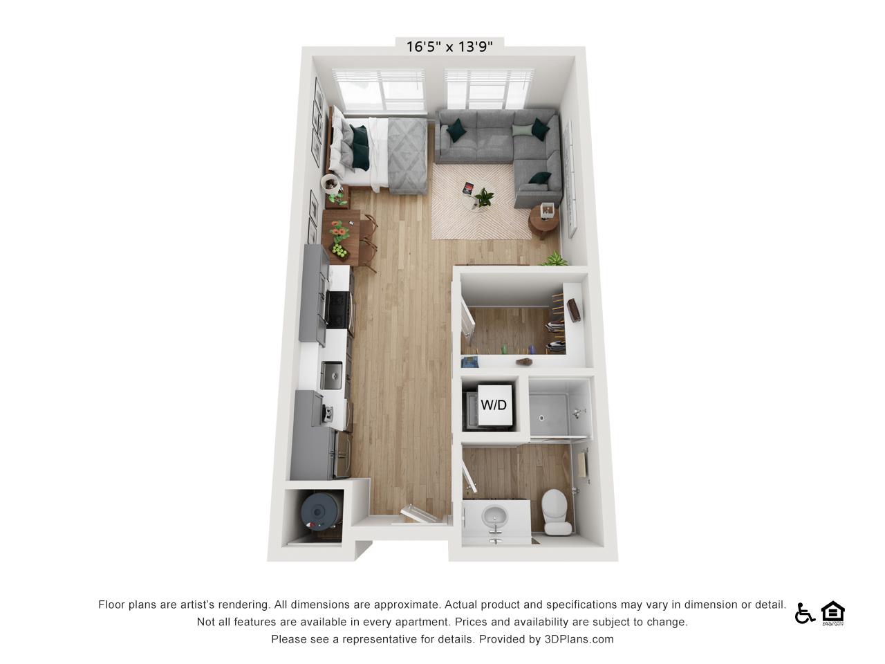 Studio B | 0 Bedrooms | 1 Bathroom | 529-536 sq ft