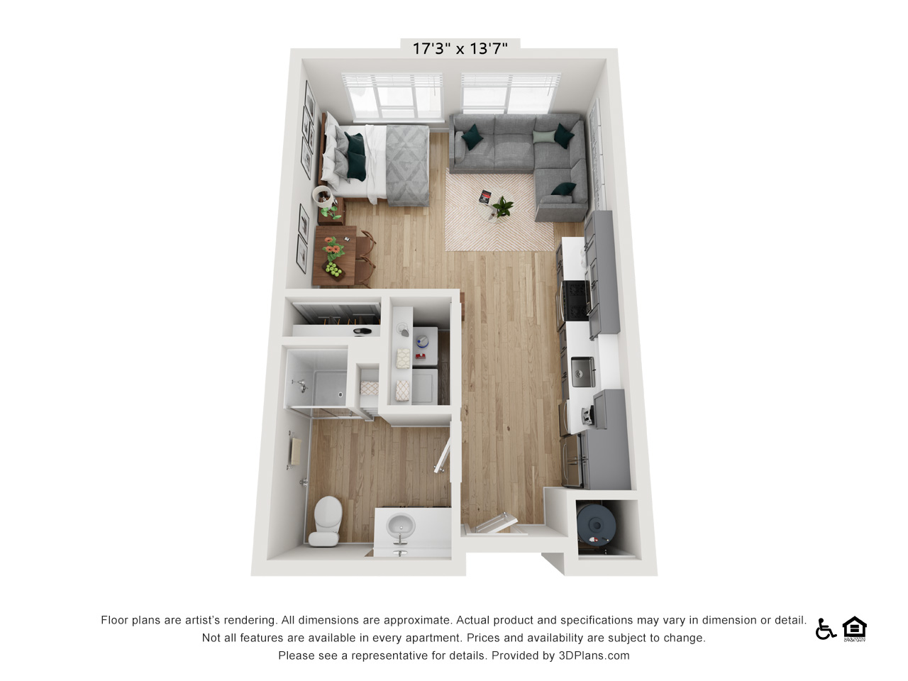 Studio C | 0 Bedrooms | 1 Bathroom | 505 sq ft