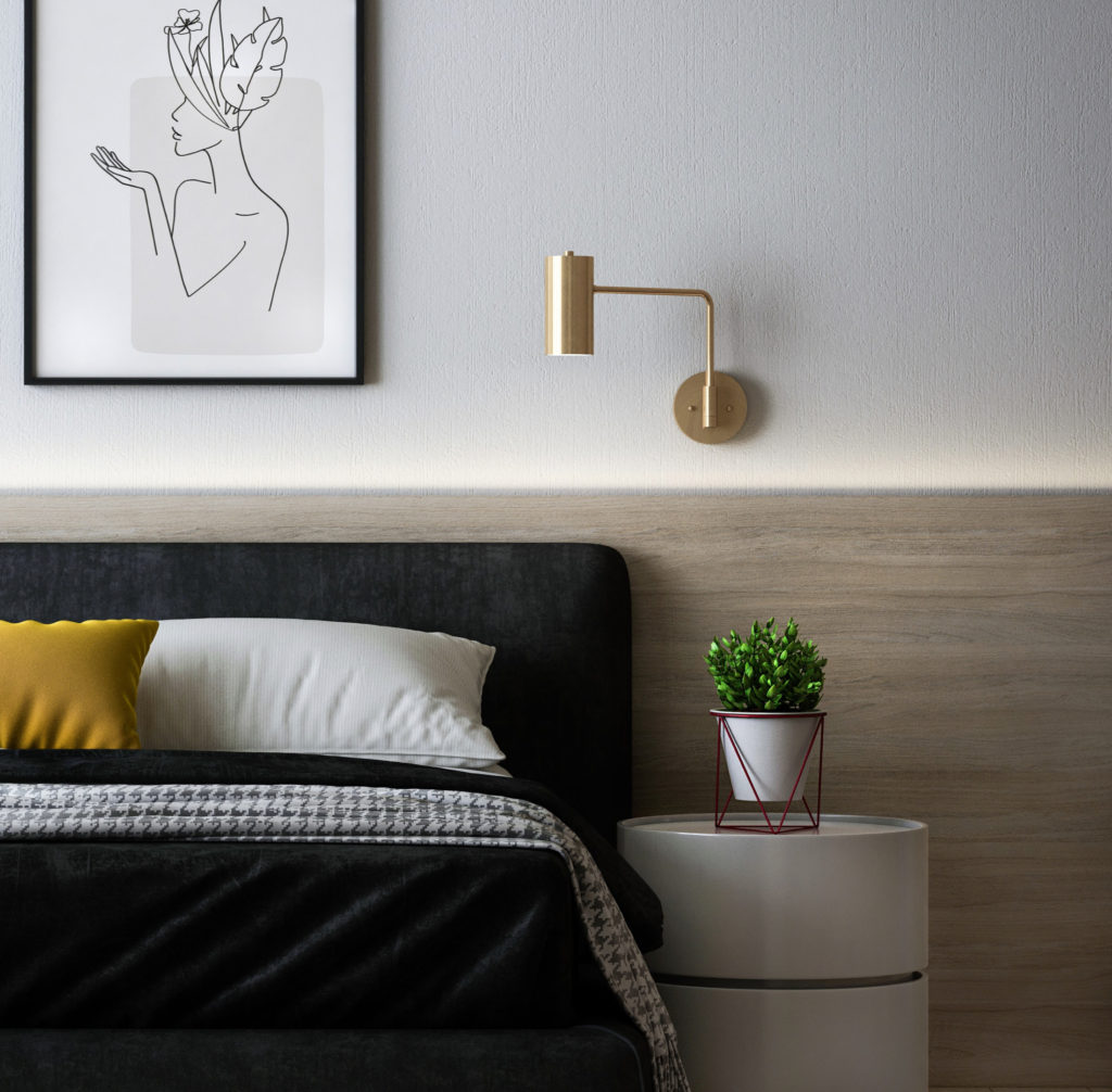 bedroom shot with modern lamp