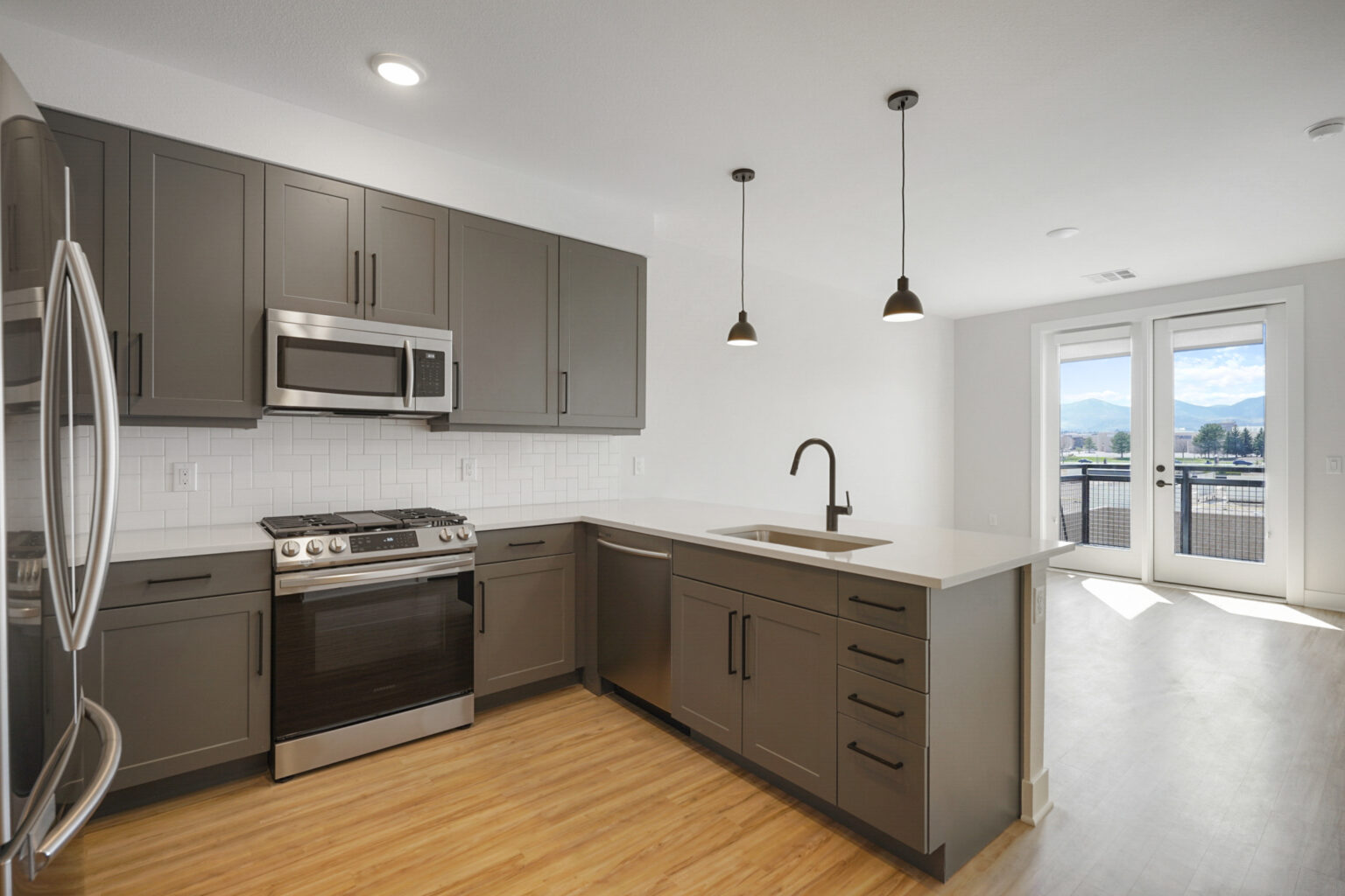 kitchen and dining/living space